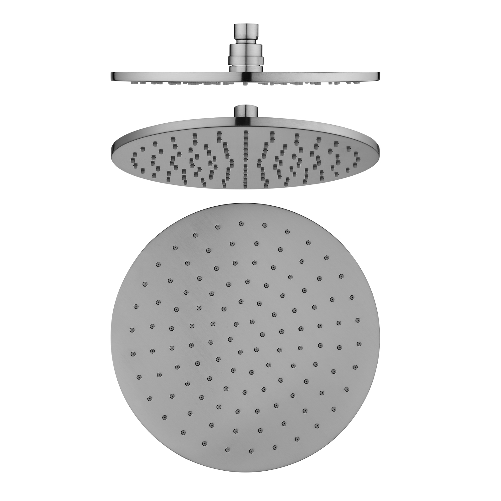 Pentro 250mm Brushed Nickel Solid Brass Round Rainfall Shower Head